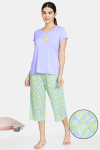 Buy Zivame Happy Flock Cotton Capri Set - Aruba Blue