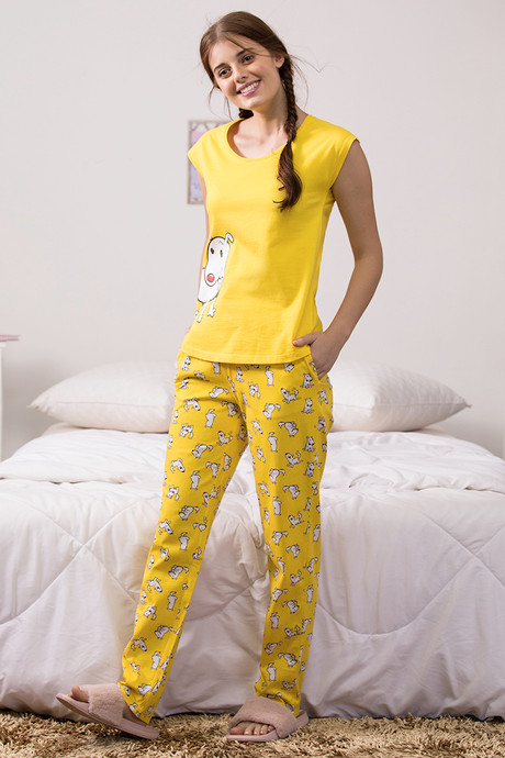 Buy Zivame Pup World Knit Cotton Sleep Pyjama - Yellow Nightwear