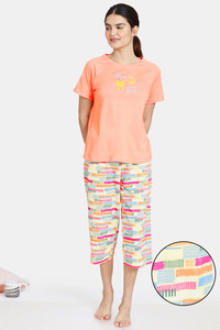 Buy Zivame Happy Flock Cotton Capri Set - Muskmelon