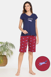 Buy Zivame My Besties Cotton Shorts Set-Beet Red