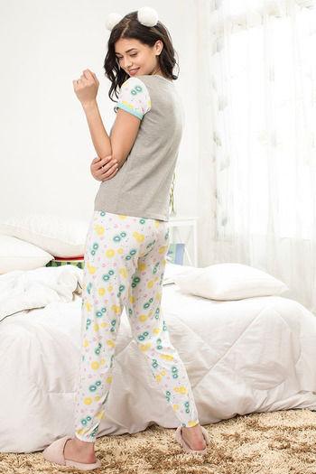 8396d36e4fc Buy Zivame Tropical Fizz Top N Pyjama Set- Grey N White at Rs.1295 ...