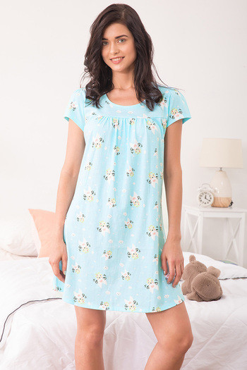 Zivame Crazy Farm Printed Sleep Dress- Print N Blue