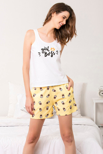 f50a67459f Buy Zivame Coffee Times Sleep Shorts - Yellow N Print at Rs.347 ...