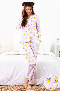 c718895876a Buy Zivame Love Bugs Sleep Shirt N Pyjama Set- Lavender N Print