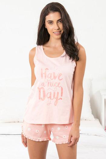 Buy Zivame Happy-Go-Sleepy Top N Shorts Set - Pink N Print