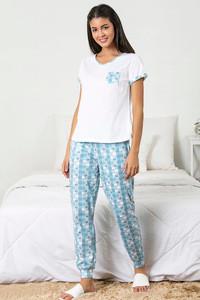 7b4ed6b875b19 Buy Zivame Chic Checks Top N Pyjama Set-Blue N Print