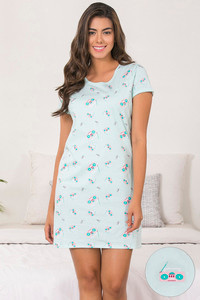 15453b226d Buy Zivame Retro Gadgets Cotton Knit Short Length Nightdress- Blue N ...