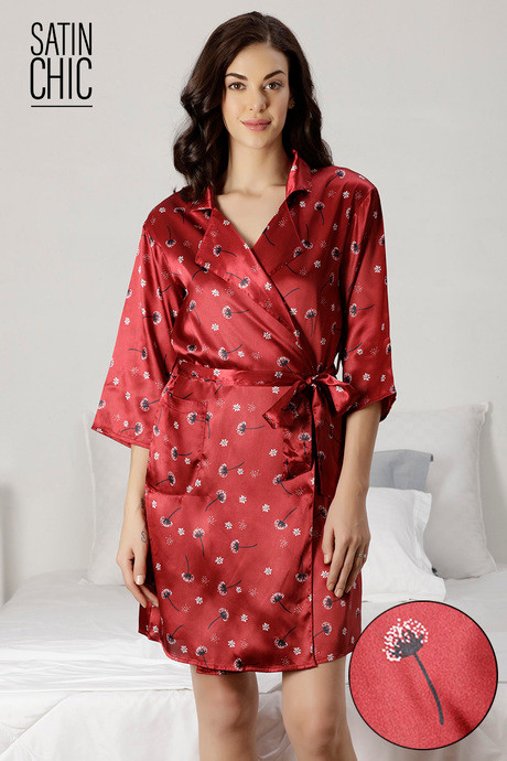 f659362b9c11 Buy Zivame Satin Chic Sleep Robe - Maroon at Rs.1595 online ...