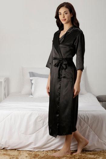 c70bdaaf28 Buy Zivame Satin Chic Sleep Robe - Black at Rs.1017 online ...
