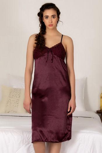 model image of Zivame Satin Chic Short Nightdress - Wine