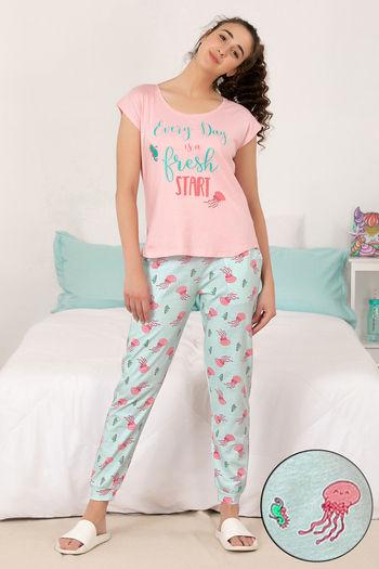 model image of Zivame Sea Life Top N Pyjama Set - Blue N Print