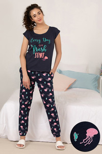 81d6d2e2dc1e9 Buy Zivame Sea Life Top N Pyjama Set- Navy N Print
