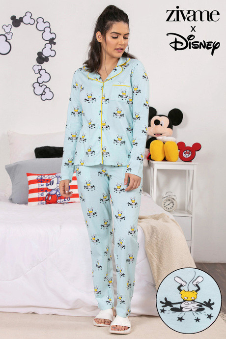 961f556e6b Buy Zivame X Disney Mickey Mouse Top N Pyjama Set - Blue N Print at ...