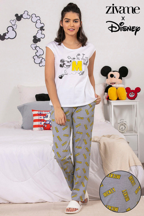 4caace597a Buy Zivame X Disney Mickey Mouse Top N Pyjama Set - Grey N Print at ...