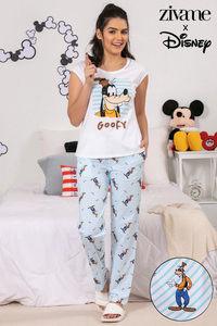 Buy Zivame X Disney Goofy Top N Pyjama Set - Blue N Print f3dd9317b
