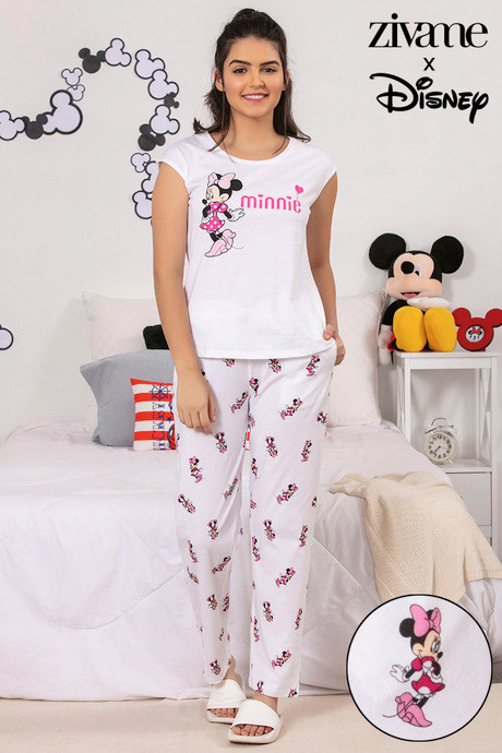 d02e9726c2 Buy Zivame X Disney Minnie Mouse Top N Pyjama Set - White N Print at ...