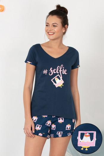 model image of Zivame Hen Party Top N Shorts Set - Navy N Print