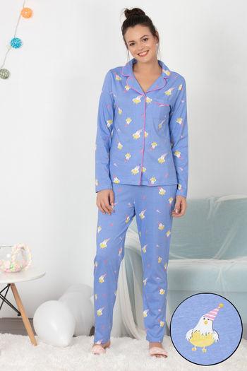 model image of Zivame Hen Party Top N Pyjama Set - Lavender N Print