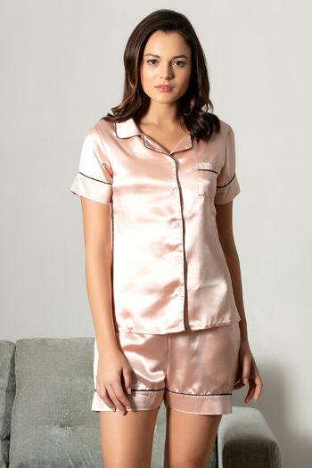 model image of Zivame Satin Stripes N Polkas Top N Shorts Set - Pink