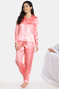 Buy Zivame Satin Stripes N Polkas Polyester Pyjama Set - Pink N Print