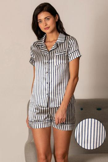model image of Zivame Satin Stripes N Polkas Top N Shorts Set - Blue N Print