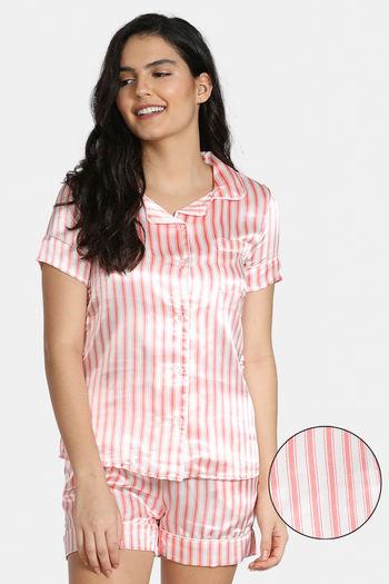 model image of Zivame Satin Stripes N Polkas Top N Shorts Set - Pink N Print