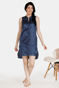 Buy Zivame Satin Stripes N Polkas Polyester Mid Length Nightdress - Blue N Print