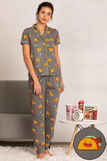 model image of Zivame Mid Night Munchies Top N Pyjama Set - Grey N Print