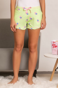 93f4167f66 Buy Zivame Midnight Munchies Sleep Shorts - Green N Print