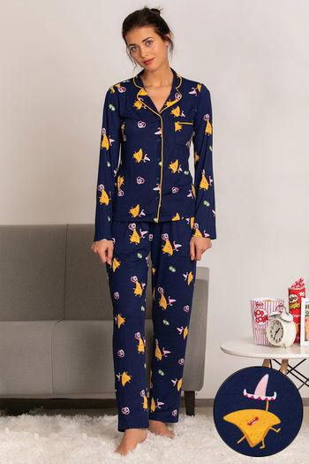 model image of Zivame Mid Night Munchies Top N Pyjama Set - Navy N Print