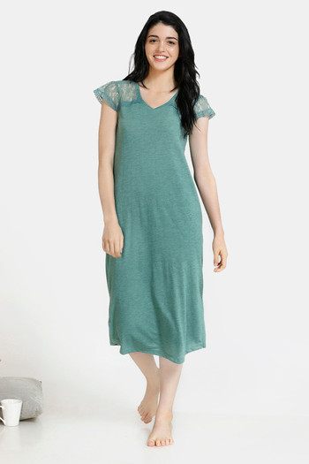 model image of Zivame Spring Love Poly Viscose Mid Length Night Dress - Green