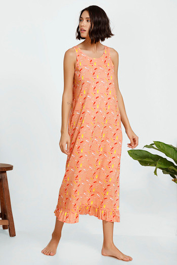model image of Zivame Beach Party Cotton Knit Mid Length Nightdress - Coral Print