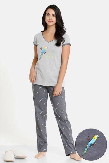 model image of Zivame Tropical Animal Print Cotton Top N Pyjama Set - Grey