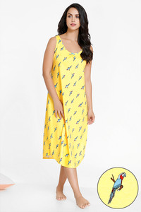 0e7354e2bfc Buy Zivame Tropical Animal Print Cotton Mid Length Nighty - Yellow