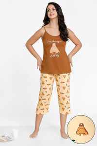d3ee7f95b Buy Zivame Tropical Animal Print Cotton Top N Capri Set - Peach