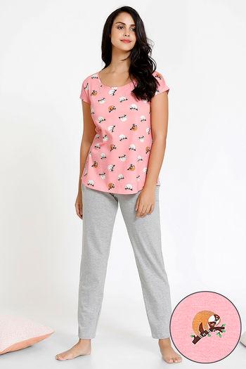 model image of Zivame Tropical Animal Print Cotton Top N Pyjama Set - Pink