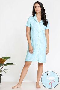 428333714f9 Buy Zivame Tropical Animal Print Knit Short Length Cotton Knit Nightdress -  Blue