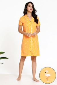 213d5fcbf1c9 Zivame Tropical Animal Print Knit Short Length Cotton Knit Nightdress -  Orange