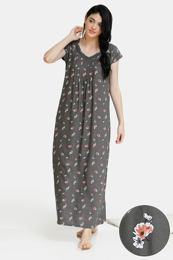 model image of Zivame Summer Chintz A-Line Floral Print Pleated Full Length Night Dress - Grey