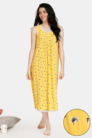 model image of Zivame Summer Chintz A-Line Floral Print Pleated Lace Mid Length Night Dress - Yellow