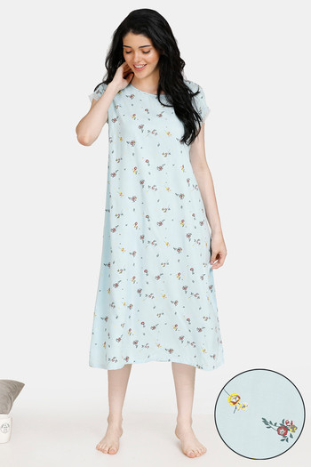 model image of Zivame Summer Chintz A-Line Floral Print Lace Mid Length Night Dress - Light Blue
