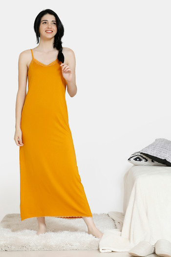 model image of Zivame Vintage Lace Viscose Ankle Length Night Dress - Yellow