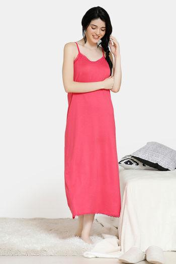 model image of Zivame Vintage Lace Viscose Ankle Length Night Dress - Pink