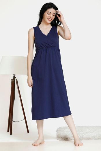 model image of Zivame Pop Fresh Cotton Mid Length Night Dress - Navy