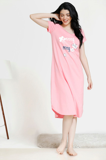 model image of Zivame Paws knit Cotton Printed Mid Length T-shirt Night Dress - Pink