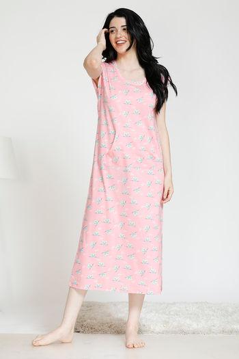 model image of Zivame Paws knit Cotton Printed Kangaroo pocket Mid Length Night Dress - Pink