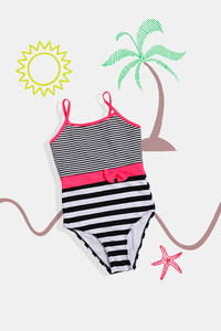 Buy Zivame Kids Maillot Swimsuit with Adjustable Straps - Hibiscus