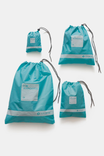 Zivame Travel Pouch  Pack Of 4    Aqua Blue