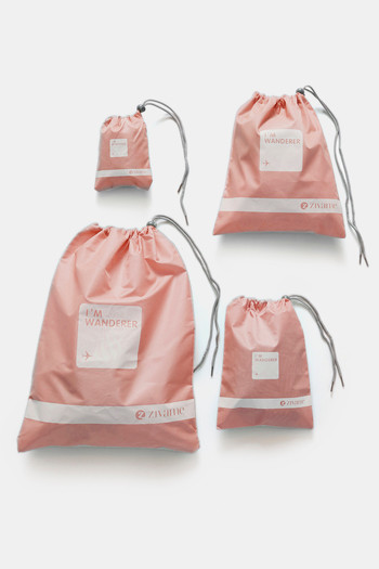 Zivame Travel Pouch  Pack Of 4    Coral Pink