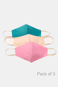 Buy Zivame 3 Layer cotton Face Mask with Inbuilt Filter Pack of 3 - Blue Pink Skin